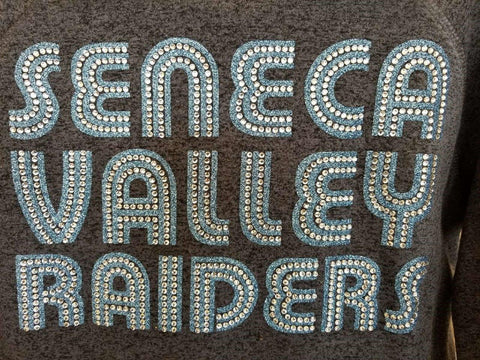 Seneca Valley Raiders Funky Text with Bling Rhinestone Design
