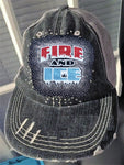 Fire & Ice Bling Logo Destructed Trucker Cap / Hat