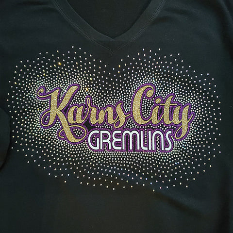 Karns City Gremlins Script Spectacular Bling Rhinestone Design
