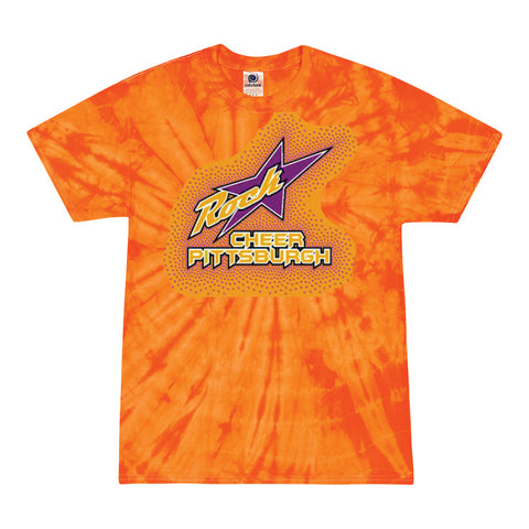 Rockstar Cheer Pittsburgh Unisex Orange Tie Dye Tee with Glitter and Rhinestone Design