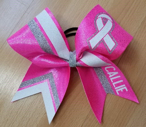 Personalized Pink Breast Cancer Awareness Bow