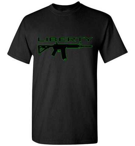 MEN'S T-SHIRT - AR-15 LIBERTY: Black/Green graphic. - ExpressLiberty.com - Products for Libertarians, Conservatives, Patriots, and Objectivists.