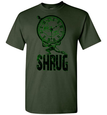 "MEN'S T-SHIRT - ""SHRUG"": Black / Green graphic. - ExpressLiberty.com - Products for Libertarians, Conservatives, Patriots, and Objectivists."