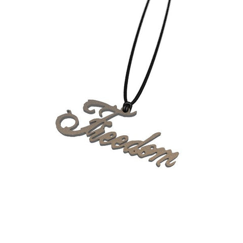 """FREEDOM"" Steel Pendant - ExpressLiberty.com - Products for Libertarians, Conservatives, Patriots, and Objectivists."