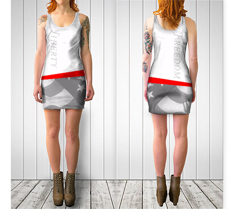 LIBERTY / FREEDOM BODYCON DRESS - White - ExpressLiberty.com - Products for Libertarians, Conservatives, Patriots, and Objectivists.