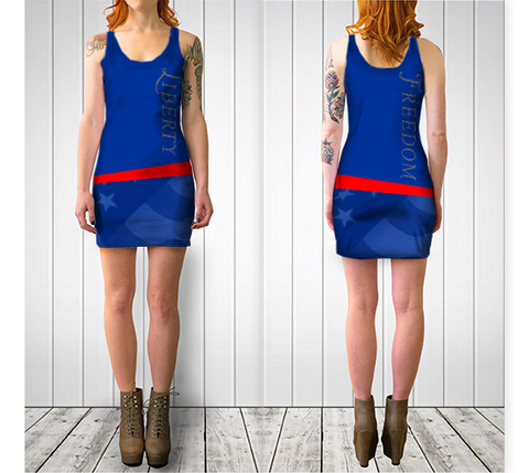 LIBERTY / FREEDOM BODYCON DRESS - Blue - ExpressLiberty.com - Products for Libertarians, Conservatives, Patriots, and Objectivists.