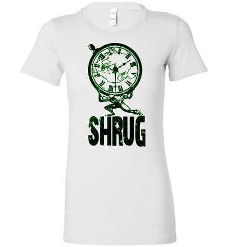 "WOMEN'S T-SHIRT - ""SHRUG"": Black and Green graphic. - ExpressLiberty.com - Products for Libertarians, Conservatives, Patriots, and Objectivists."