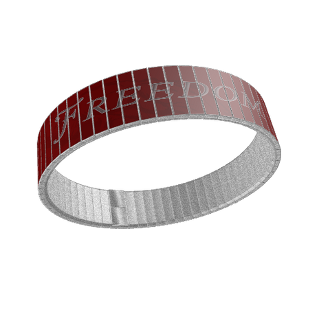 STAINLESS STEEL WRIST BAND - FREEDOM / LIBERTY: Red - ExpressLiberty.com - Products for Libertarians, Conservatives, Patriots, and Objectivists.