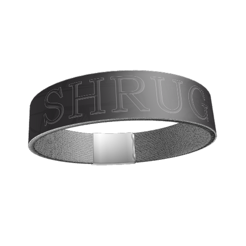 """SHRUG"" SILICONE WRIST BAND: Gray - ExpressLiberty.com - Products for Libertarians, Conservatives, Patriots, and Objectivists."