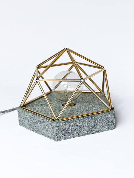 Concrete Dome Table Lamp with Granite Finish