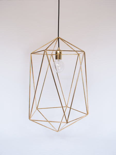 Tall Geometric Brass Pandent Lamp