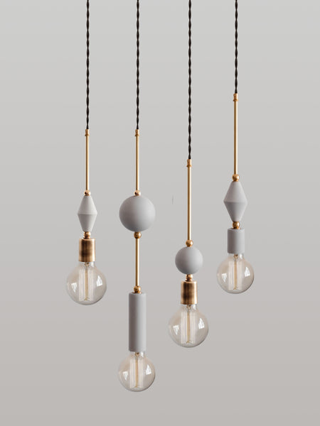 Set of 4 Jewels and Beads Pendant Lamps