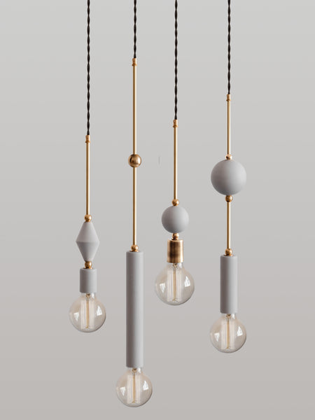 Set of 4 Jewels and Beads Pendant Lamps V2