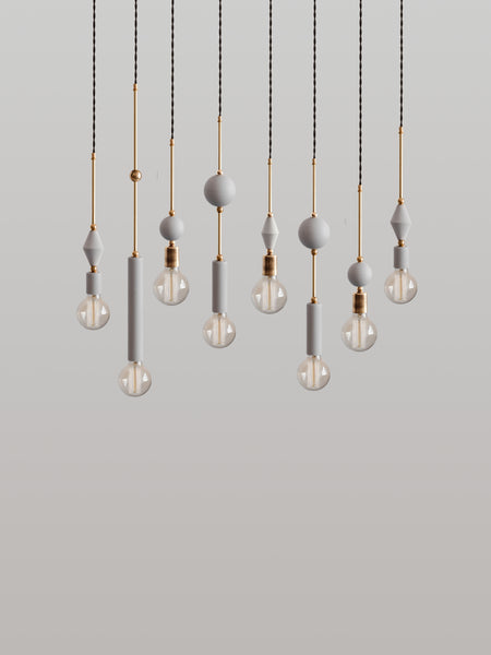 Set of 8 Jewels and Beads Pendant Lamps