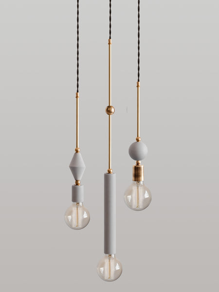 Set of 3 Jewels and Beads Pendant Lamps