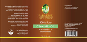 Paradise Springs Citronella Oil Label