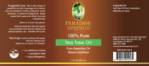 Paradise Springs Tea Tree Oil Label