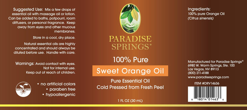 Paradise Springs Sweet Orange Oil Label