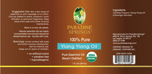 Load image into Gallery viewer, Paradise Springs Organic Ylang Ylang Oil Label