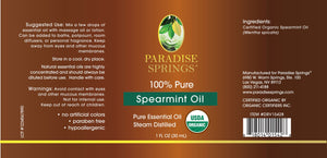Paradise Springs Organic Spearmint Oil Label