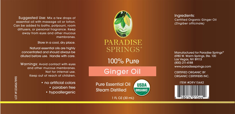 Paradise Springs Organic Ginger Oil Label