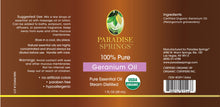 Load image into Gallery viewer, Paradise Springs Organic Geranium Oil Label