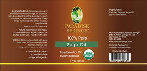 Paradise Springs Organic Sage Oil Label
