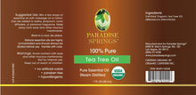 Load image into Gallery viewer, Paradise Springs Organic Tea Tree Oil Label