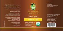 Load image into Gallery viewer, Paradise Springs Organic Lemon Oil Label