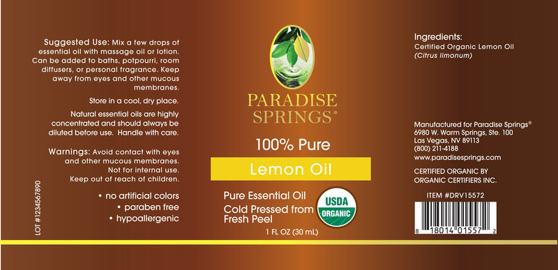 Paradise Springs Organic Lemon Oil Label