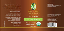 Load image into Gallery viewer, Paradise Springs Organic Eucalyptus Oil Label