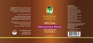 Paradise Springs Menopause Blend Label