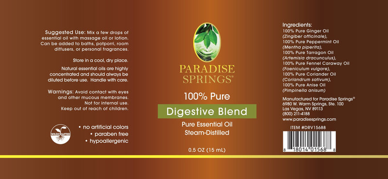 Paradise Springs Digestive Blend Label