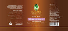 Load image into Gallery viewer, Paradise Springs Massage Blend Label