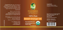 Load image into Gallery viewer, Paradise Springs Organic Sweet Orange Oil Label