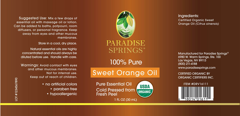 Paradise Springs Organic Sweet Orange Oil Label