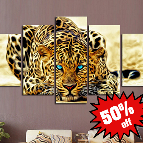 Beautiful Leopard 5 Piece Canvas Set!