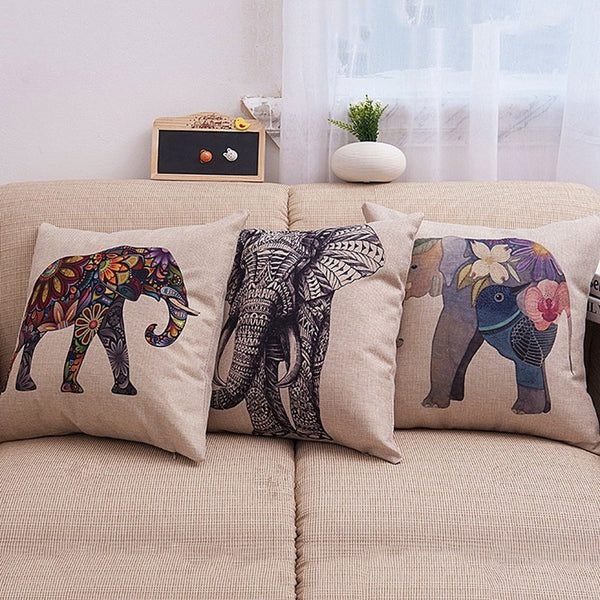 2016 Hot Sale Elephant Cotton linen Pillow Case For office/bedroom/chair seat cushion 18x18 inches Free Shipping