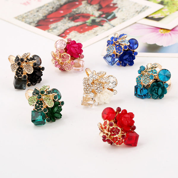 Beautiful Bling Flower Rings