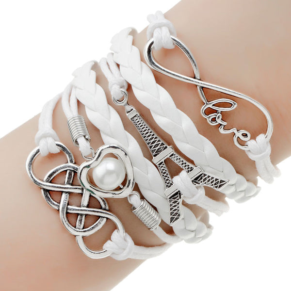 Paracord White Love Paris Bracelet