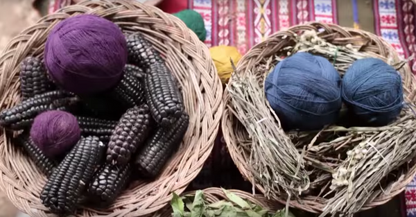 Natural purple and blue dyes for the wool to make our Peruvian rugs.