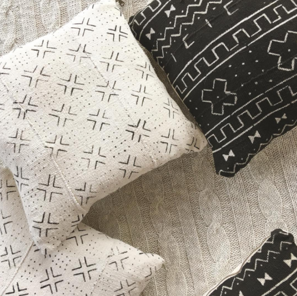 black and white mudcloth cushions and pillows
