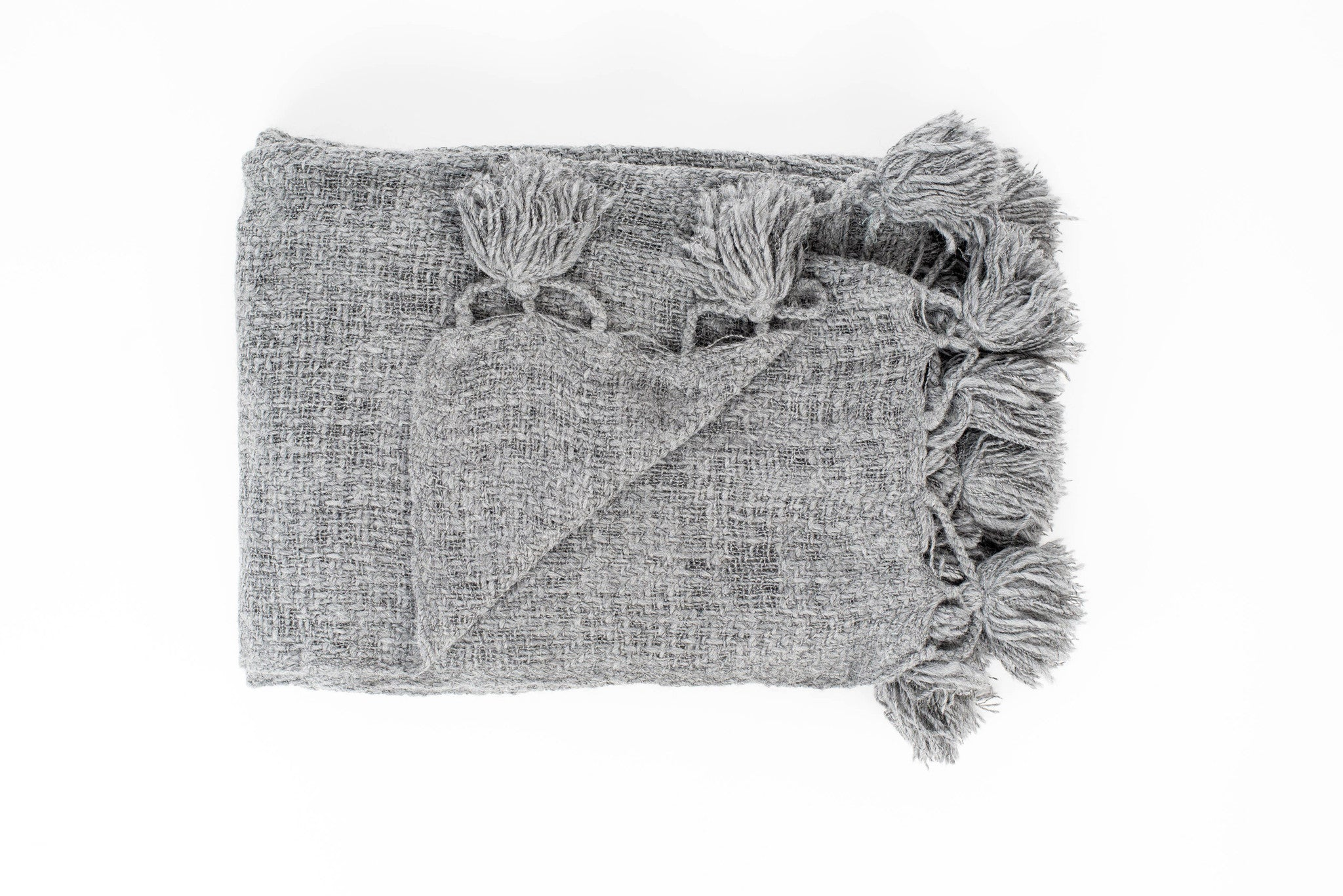POM POM THROW - Grey