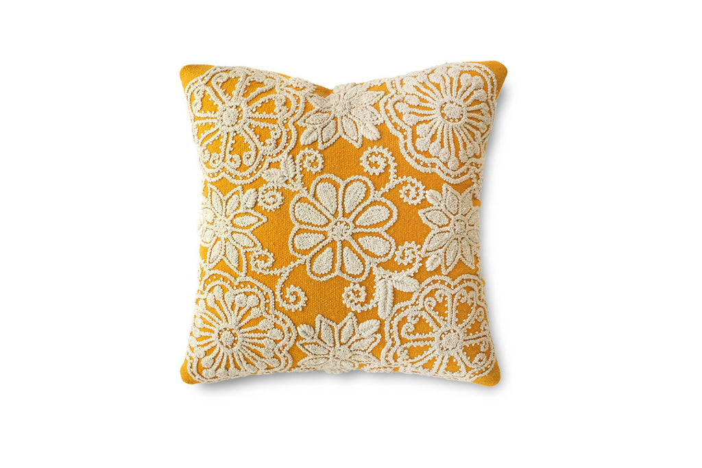 "FLOR EMBROIDERED DECORATIVE CUSHIONS (20""x20"")"