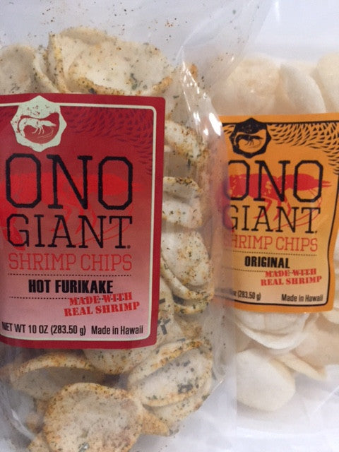 Two Ono Giant Shrimp Chip 10 oz bags - 1 Hot Furikake & 1 Original (Shipping Included)
