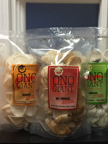 B. Four Ono GiantShrimp Chips -10 oz bags (Shipping Included)