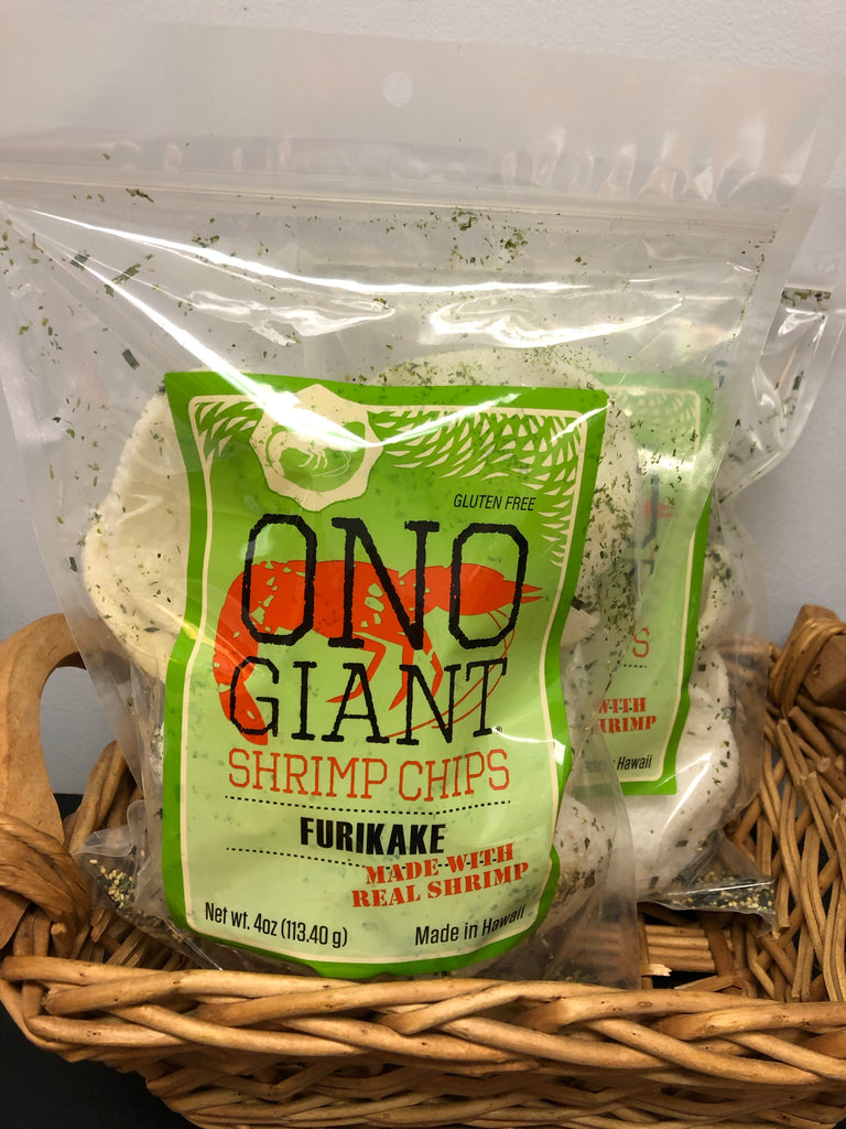 Two Ono Giant Shrimp Chips -  Furikake 4 oz  bags (Shipping Included)