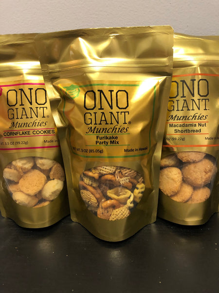Three Ono Giant Munchies bags - Two Mac Nut Shortbread & One 3.0 oz Furikake Party Mix (Shipping Included)
