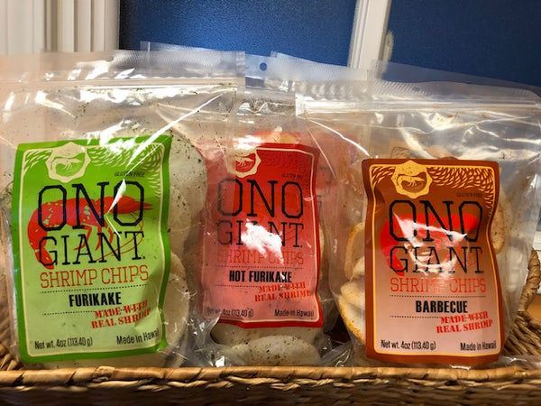 Five Ono Giant Shrimp Chips - 4 oz bags (Shipping Included)