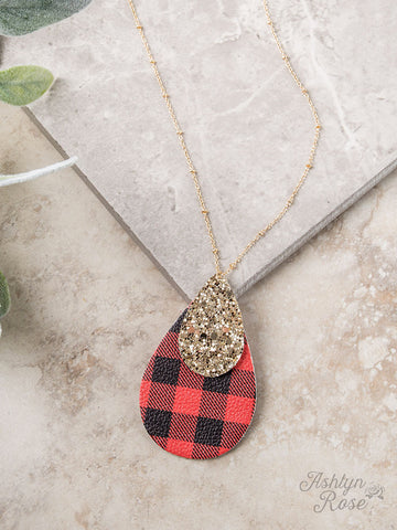 Buffalo Plaid & Gold Glitter Necklace Jewelry - Lulu's Closet